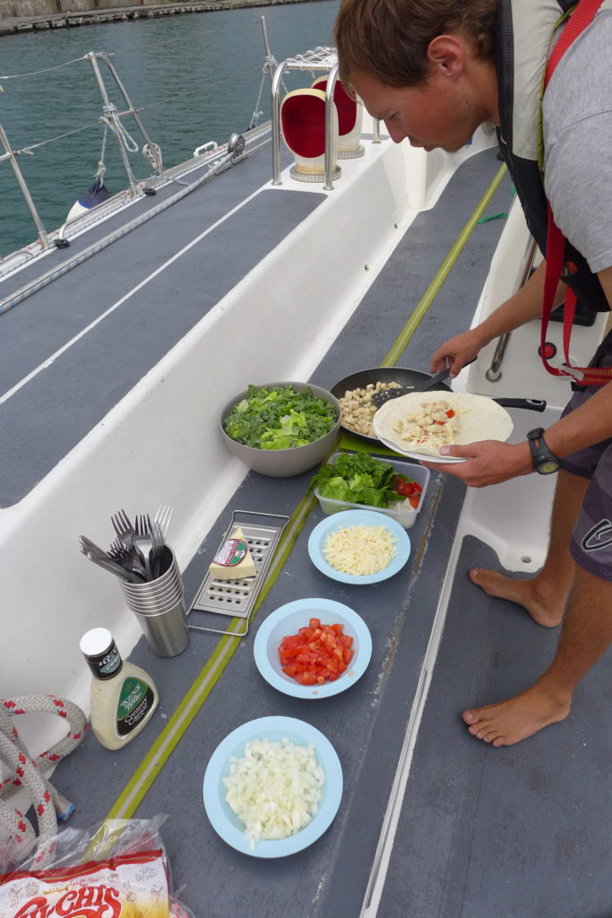 Most of the meals made on Sea Dragon are made in the Galley and eaten on deck so that the team on watch can enjoy the meal with the rest of the crew!