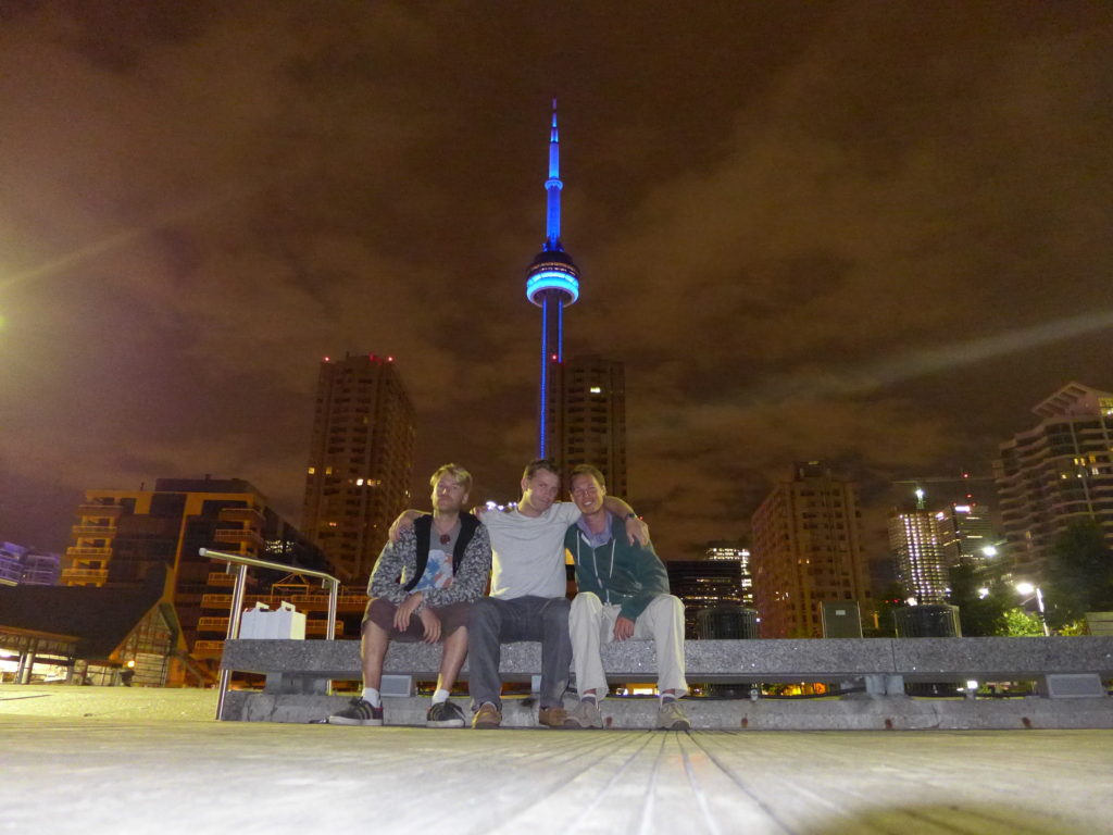 Andrew, Nikita and Mitch enjoy a night on the dock in Toronto